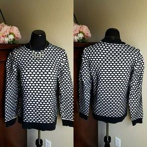 Black & White Waffle Knit Sweater